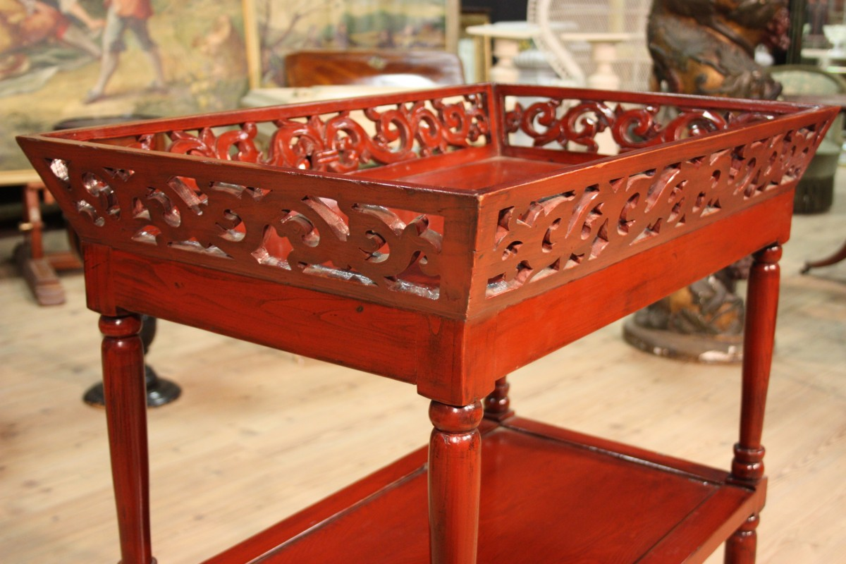 Tag re chinese furniture small table wood lacquered red for Red chinese furniture