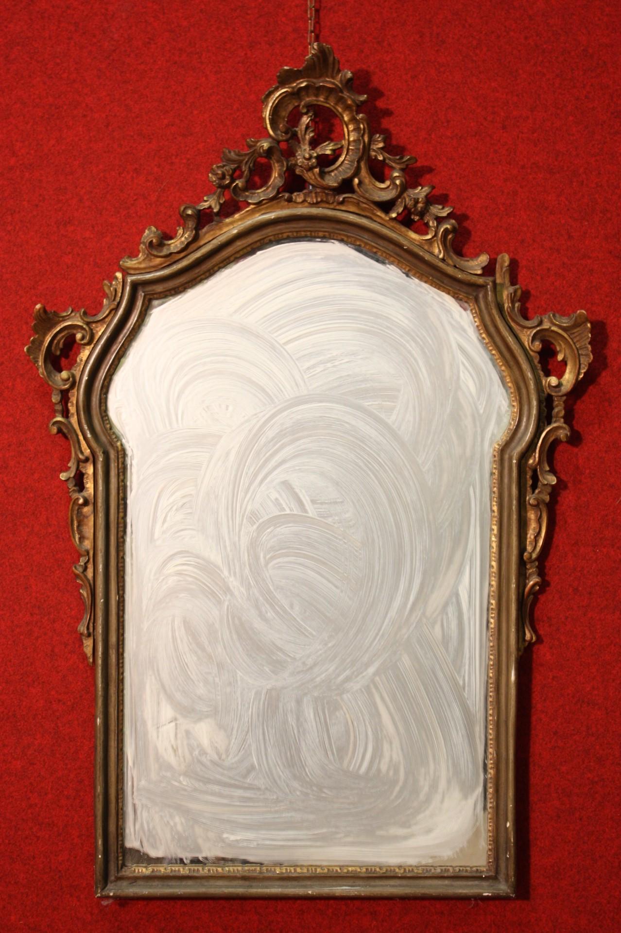 Antica specchiera veneziana in legno laccato for Legno laccato