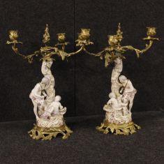 Candelieri 3 luci stile antico personaggio con putto epoca 900