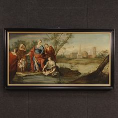 Quadro olio su tela arte sacra cornice laccata epoca 700
