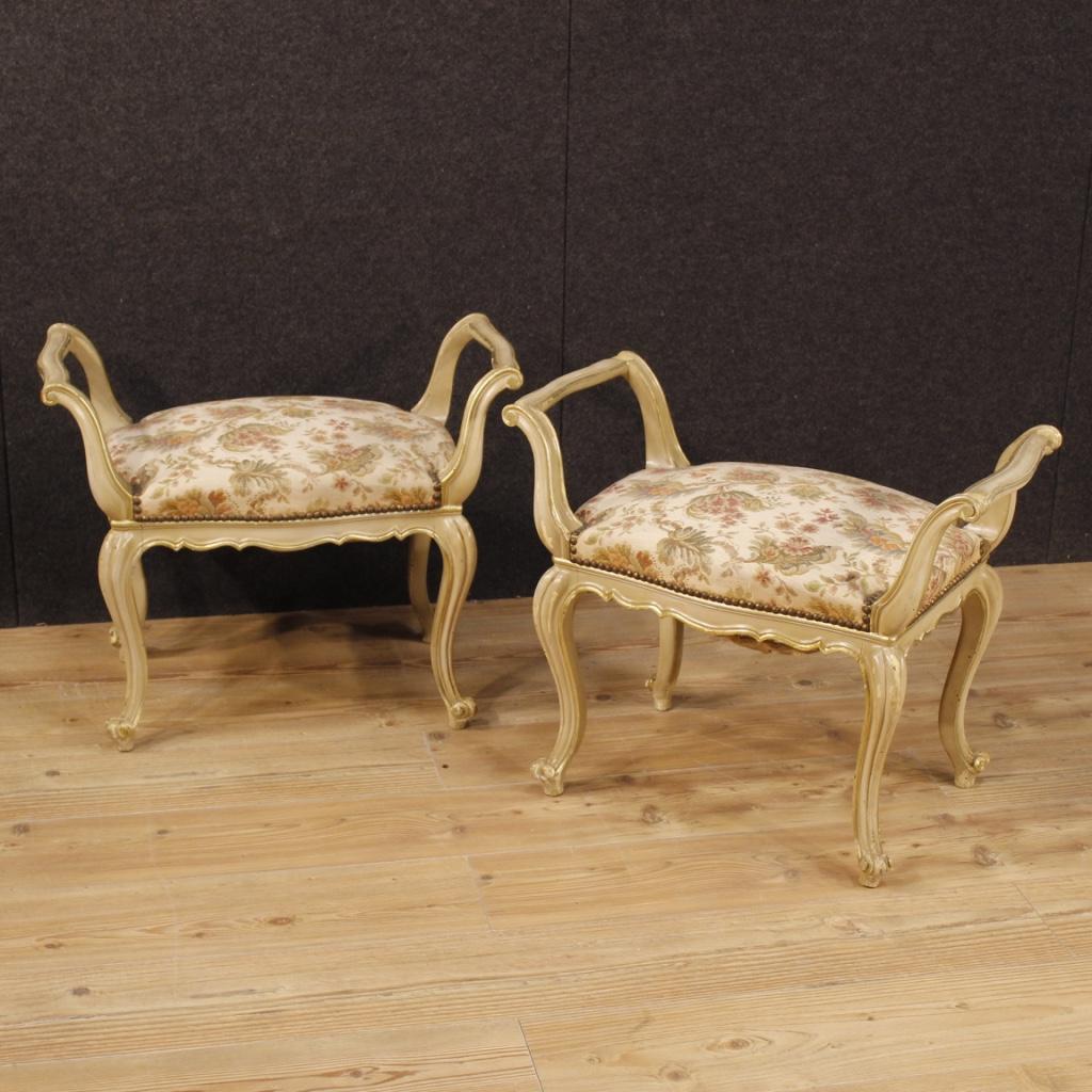 Coppia di pouf veneziani sgabelli salotto mobili in legno for Mobili veneziani