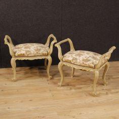 Mobili salotto sgabelli panchette con tessuto floreale epoca 900