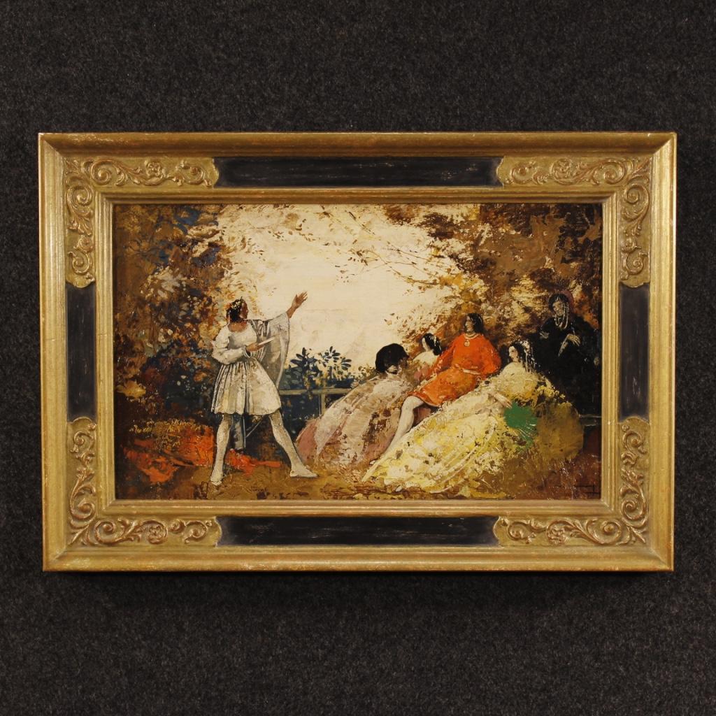 Dipinto francese paesaggio romantico con figure stile impressionista - Quadri per casa ...