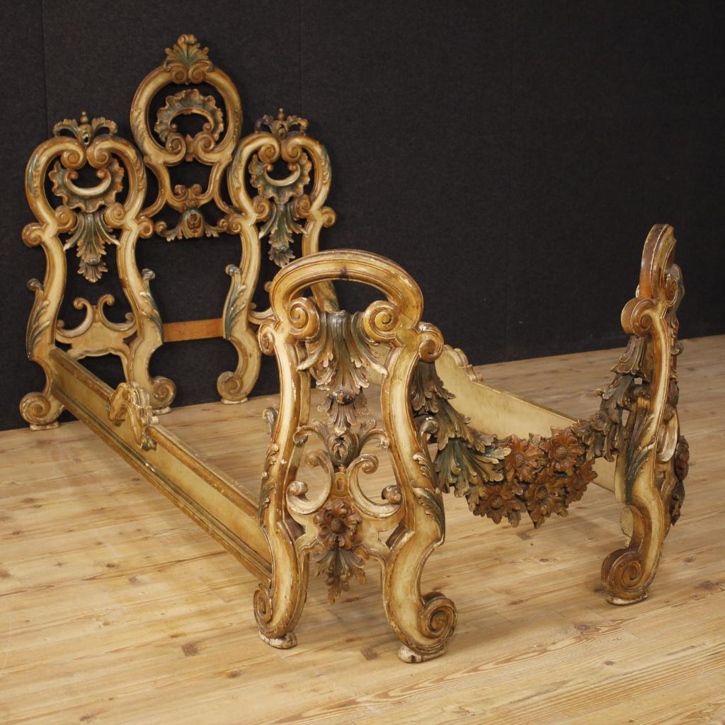 Venetian single bed furniture in lacquered wood baroque for Arredamento barocco veneziano