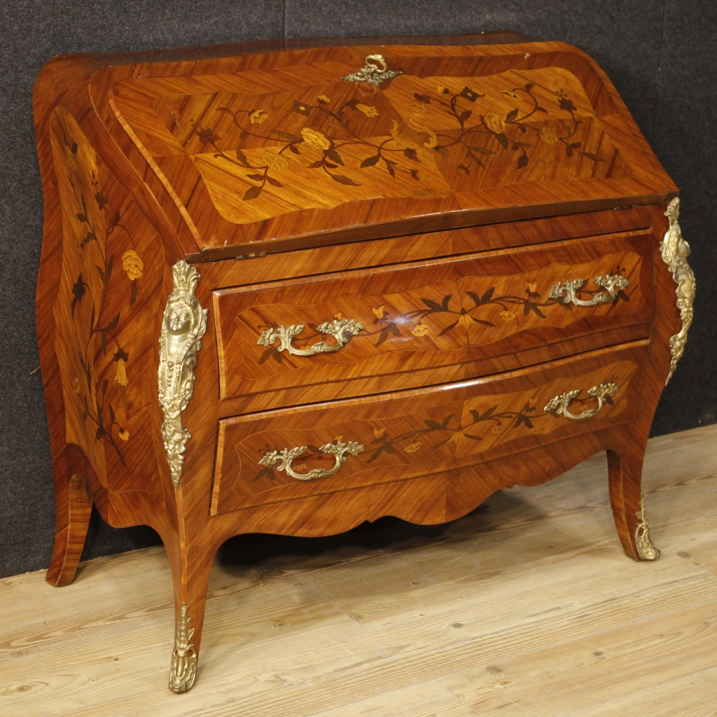 French inlaid bureau in louis xv style for Bureau louis xv