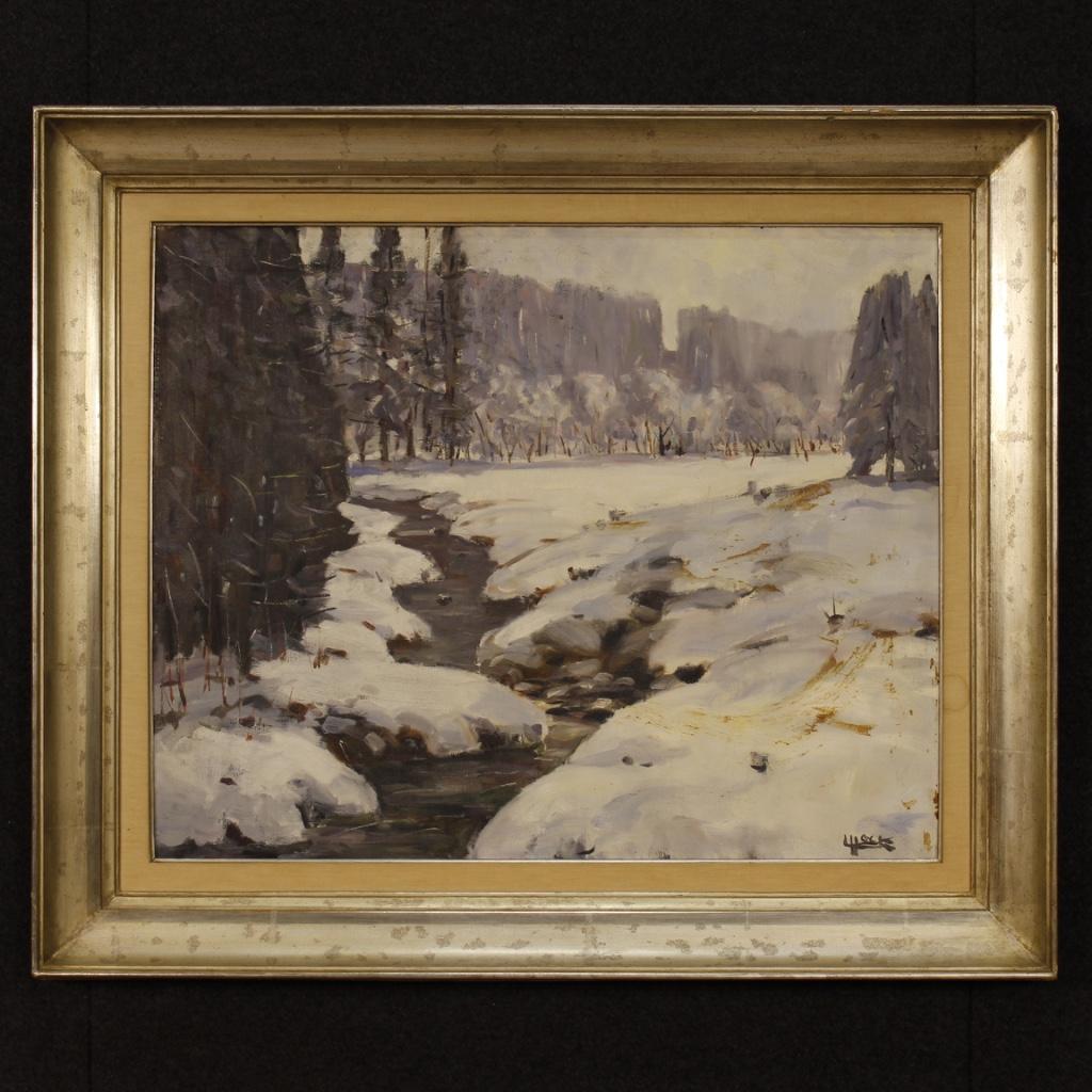 Dipinto belga firmato olio su tela paesaggio innevato