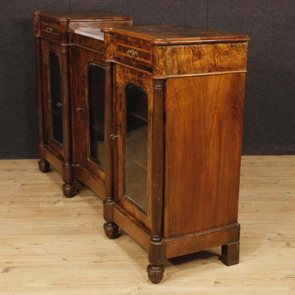 Credenza english mobile servante inlayed wood 3 door marble antique style ebay - Mobile credenza ...