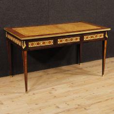 Mobile tavolo in legno 6 cassetti con bronzi dorati epoca 800