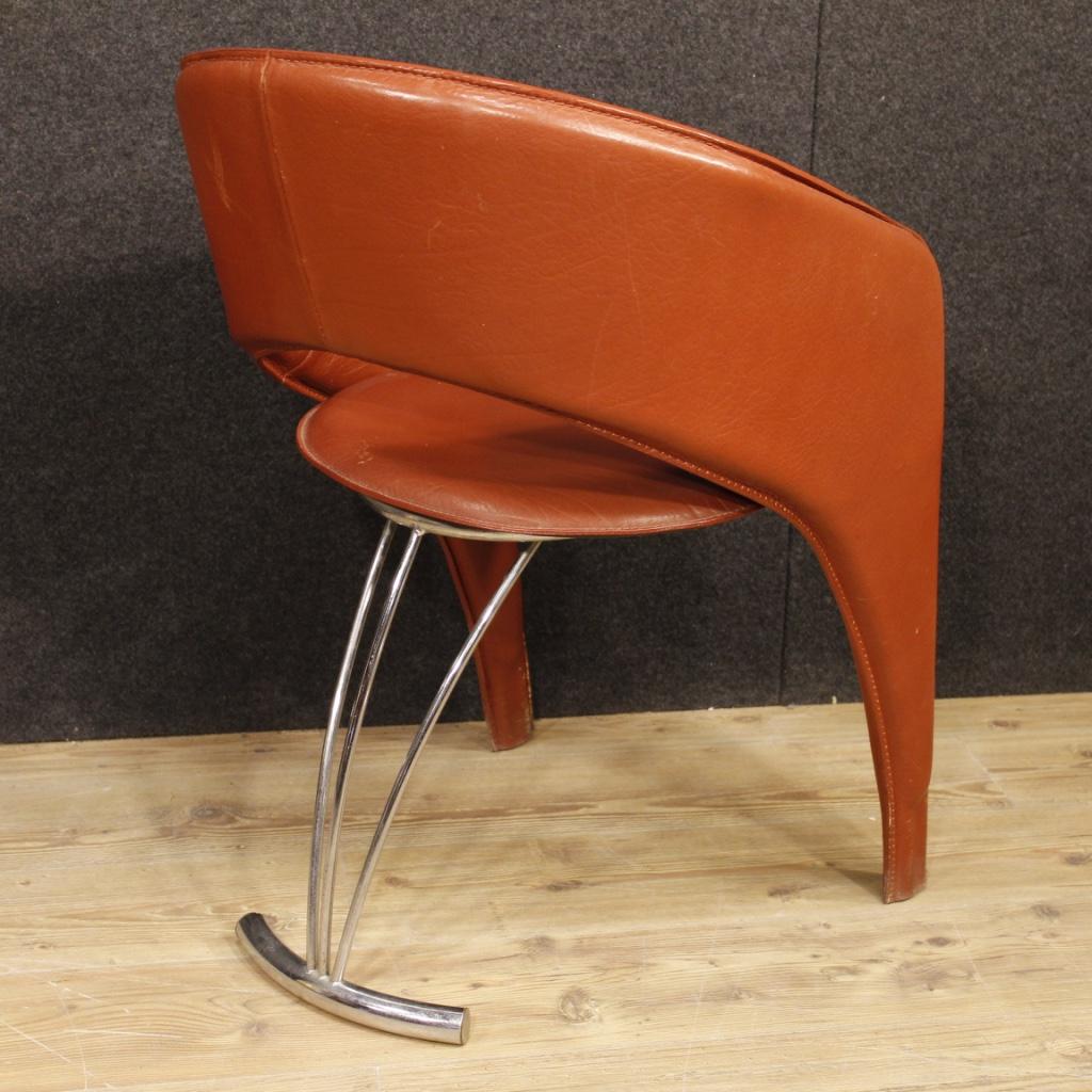 Annuncio: 4 sedie italiane di design in cuoio e metallo • NowArc
