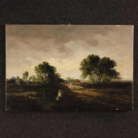 Dutch Signed Painting Landscape With Shepherd And Sheep