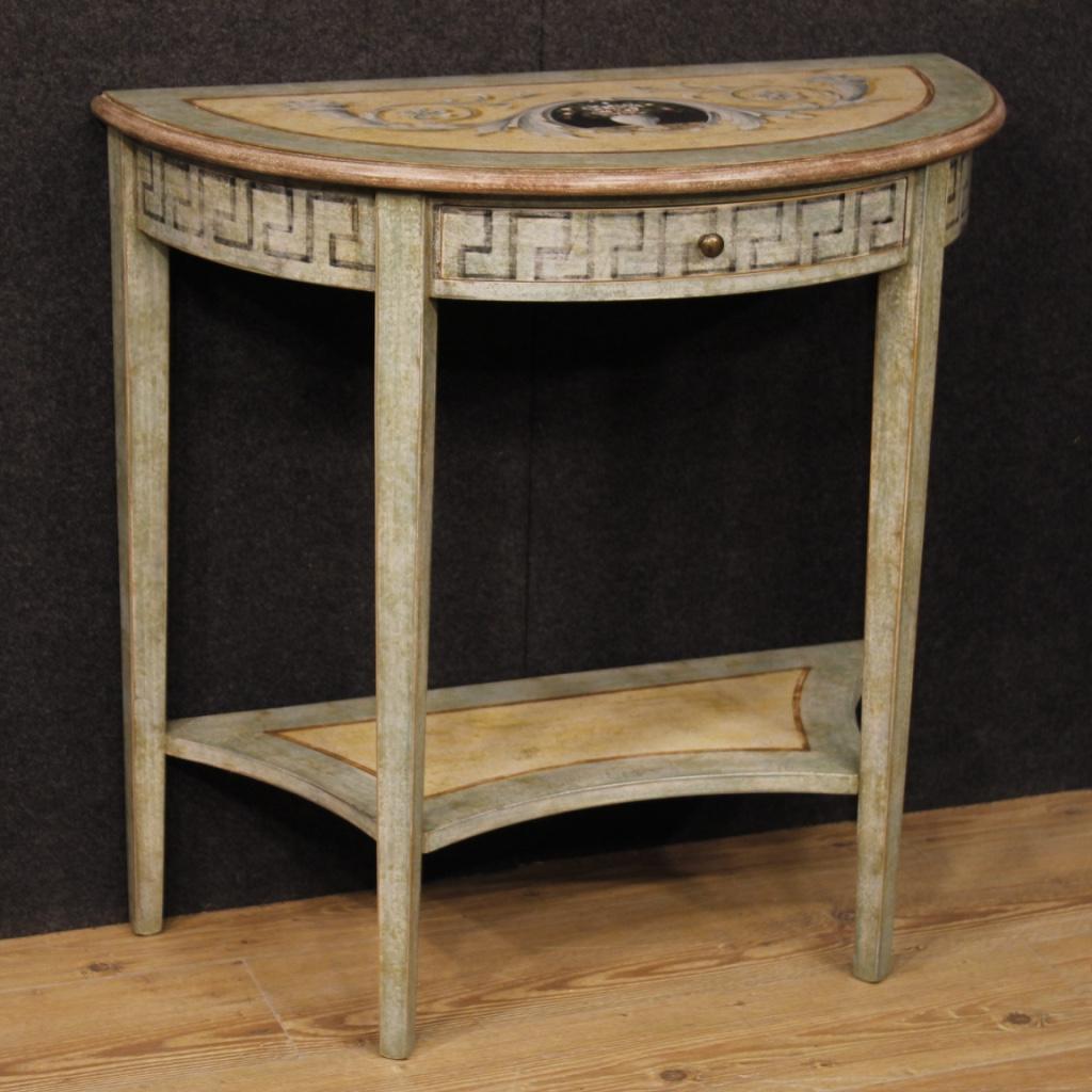 Peinture Sur Meuble Ancien details about console lacquée salon meuble table bois peinture style ancien  luigi xvi 900