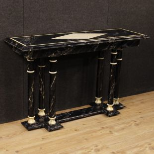 French console in lacquered faux marble wood