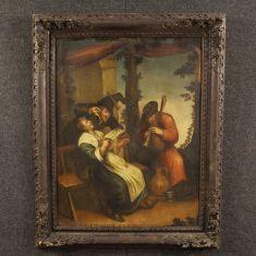 Quadro olio su tela con cornice dipinta epoca 700