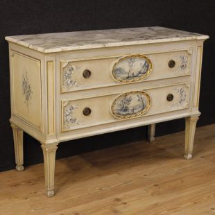 Italian lacquered dresser with marble top in Louis XVI style