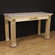 Tavolo da salotto mobile in legno con piano in legno laccato finto marmo