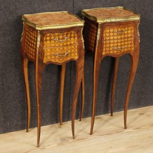 Pair of French inlaid bedside tables in Louis XV style