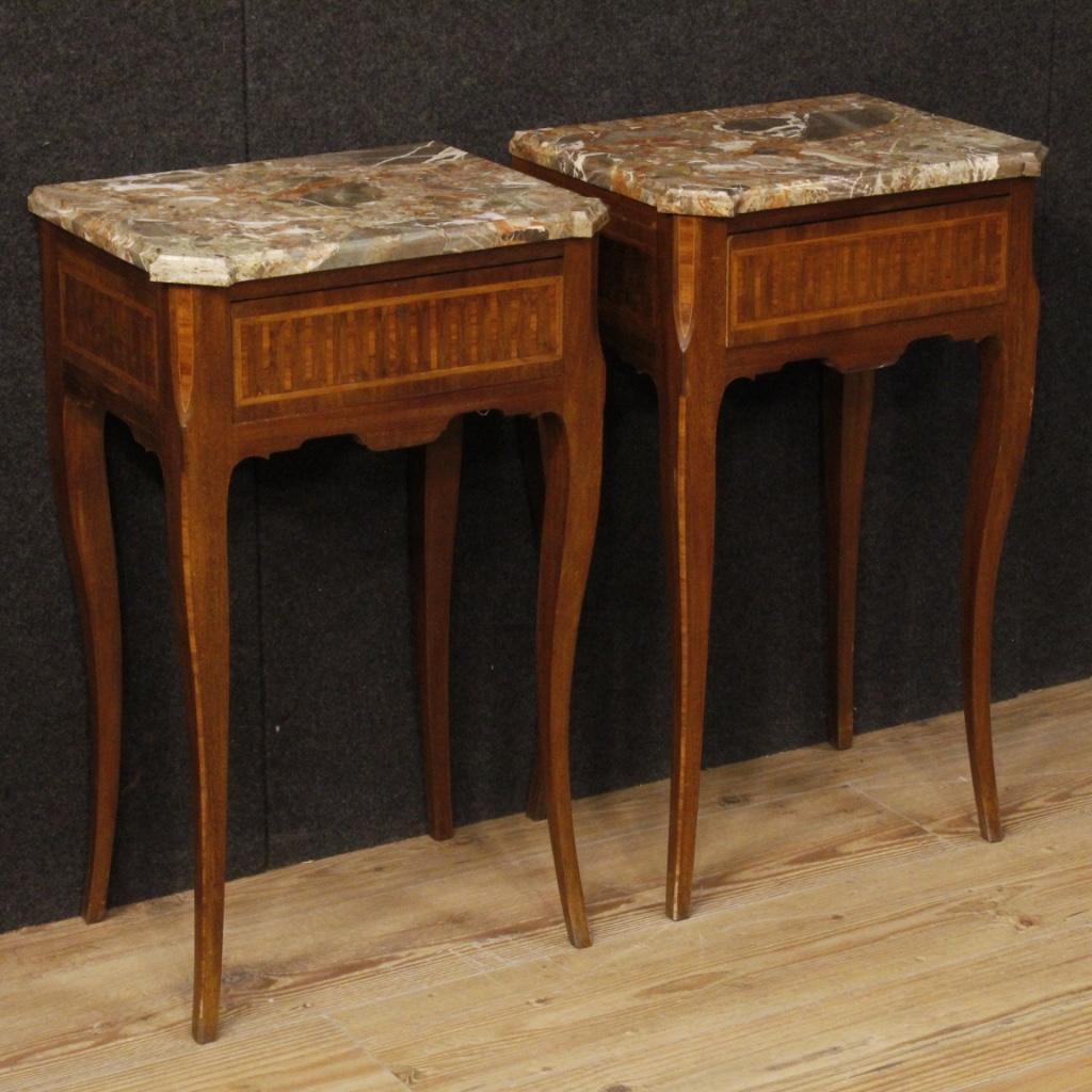 Paire Tables Incrustées Marbre Avec Dessus De Chevet Italiennes En DEHW29I