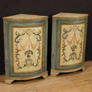 Pair of Italian painted corner cupboards in Louis XVI style