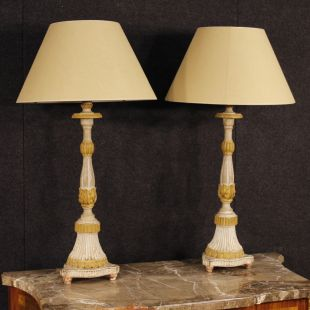 Antique pair of French lacquered lamps from 19th century