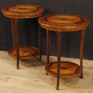 Pair of Italian side tables in wood