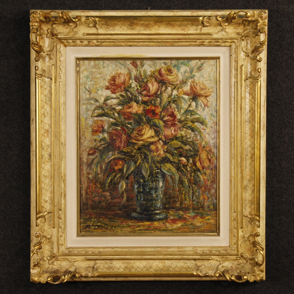 Italian Canvas Tent Veranda Decorated In Different Styles: Italian Still Life Painting Oil On Canvas Vase With Flowers