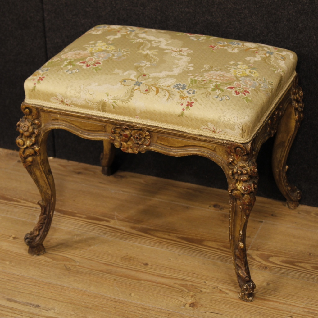 French lacquered and golden footstool with floral fabric