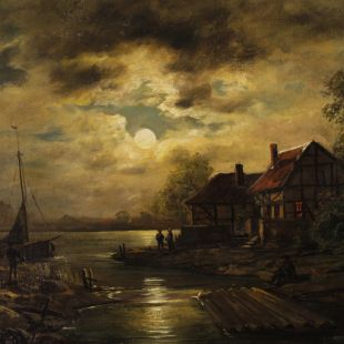 Antique Dutch signed painting nocturnal seascape from 19th century