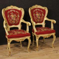 Sedie mobili in legno e gesso con tessuto con decori floreali epoca 900