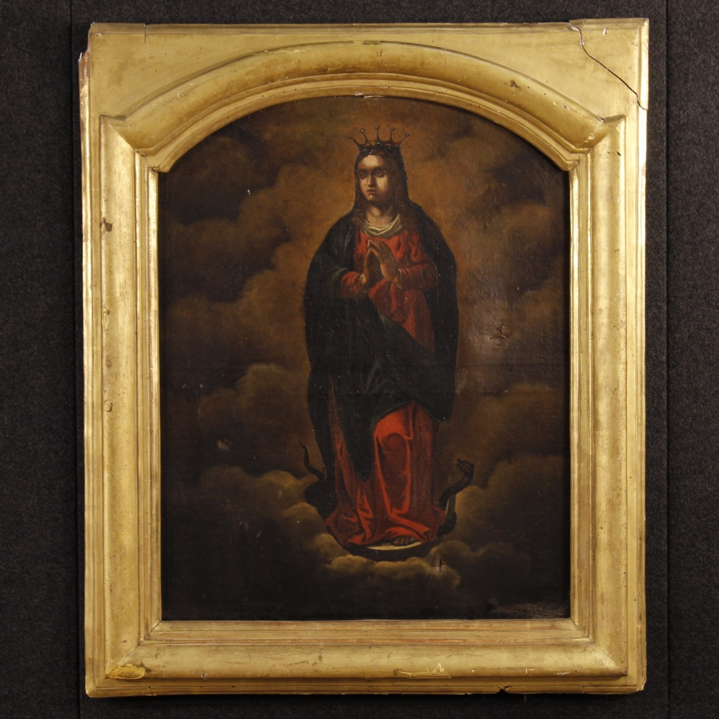 Antique french religious painting oil on canvas from 19th for Christian mural paintings