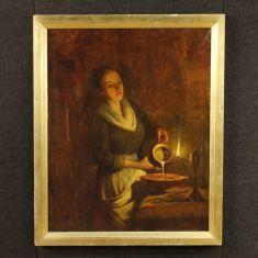 Quadro olio su tela con cornice stile antico 900