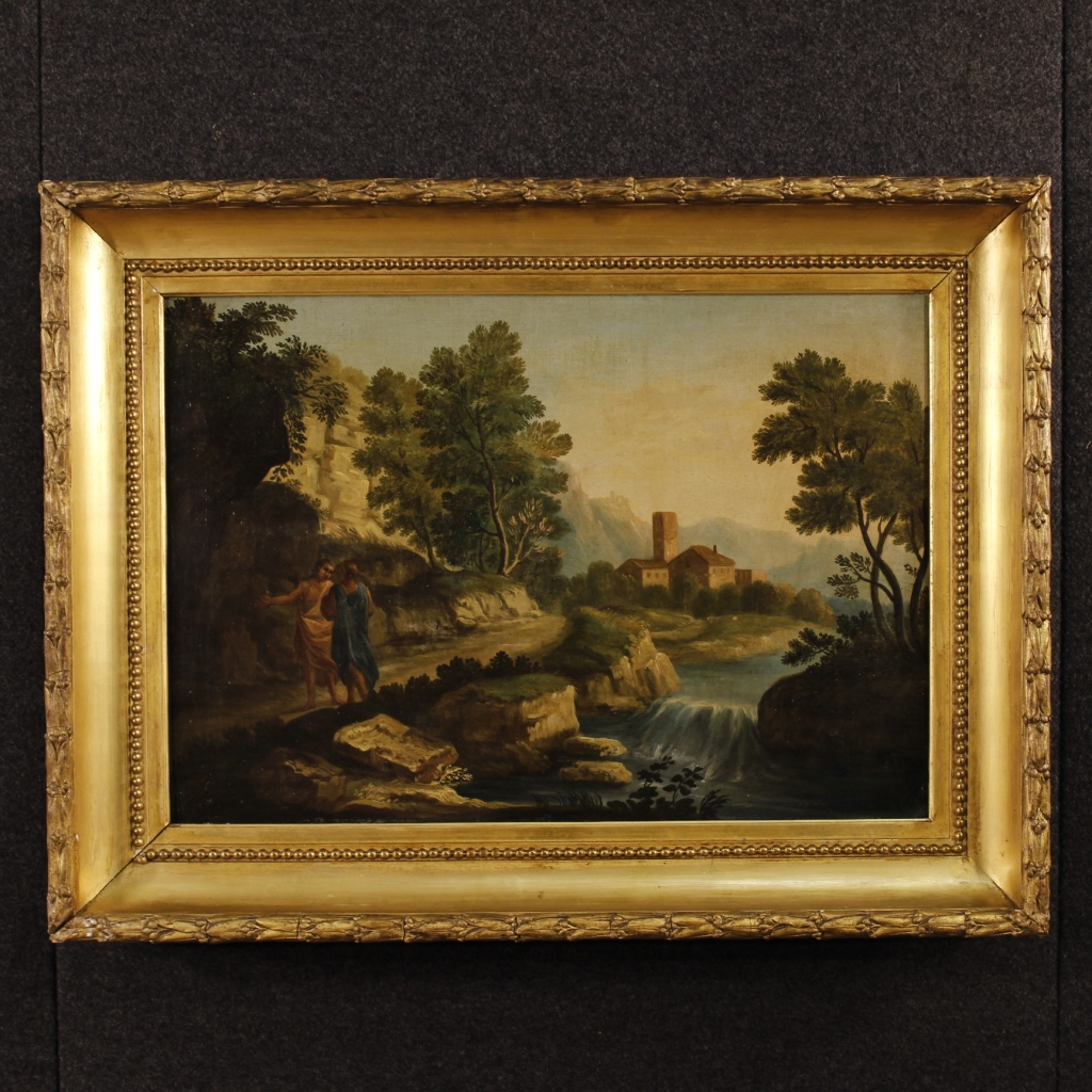 Antique Italian Painting Landscape With Characters Of 18th