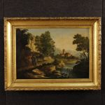 Antique Italian painting landscape with characters of 18th century