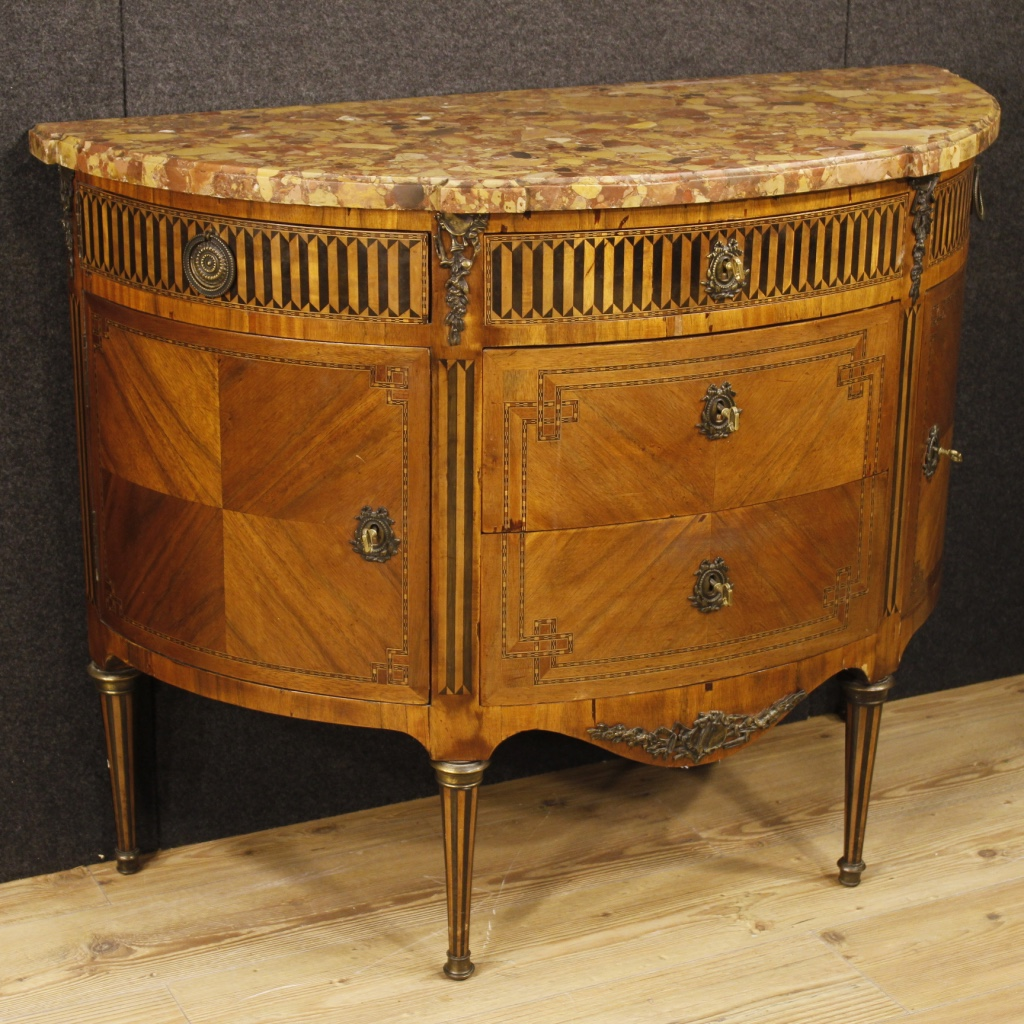 antique french demi lune dresser in louis xvi style from 19th century. Black Bedroom Furniture Sets. Home Design Ideas