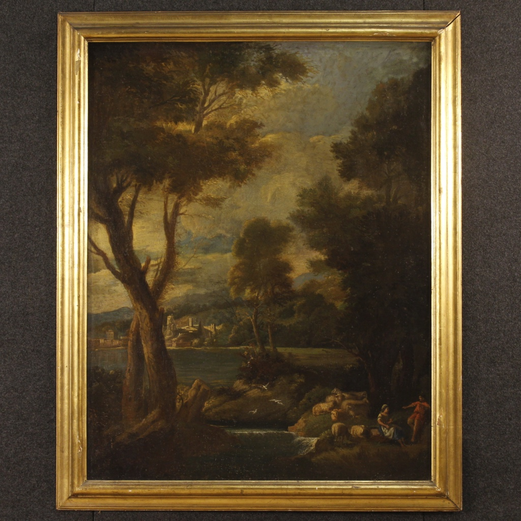 antique italian landscape painting oil on canvas from the