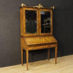 Mobile scrittoio ribalta credenza in legno con specchi epoca 700