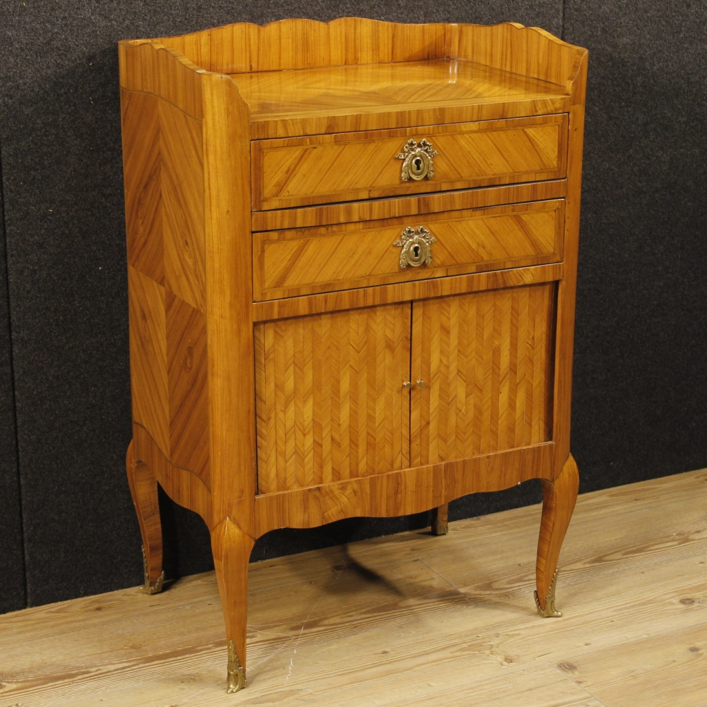 Antique Inlaid French Nightstand Of The 19th Century