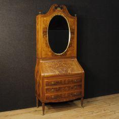 Mobile ribalta scrittoio in legno con specchio epoca 900