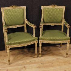 Mobile sedie salotto in legno con tessuto verde epoca 900