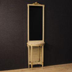 Tavolo mobile con piano in marmo e specchio epoca 900