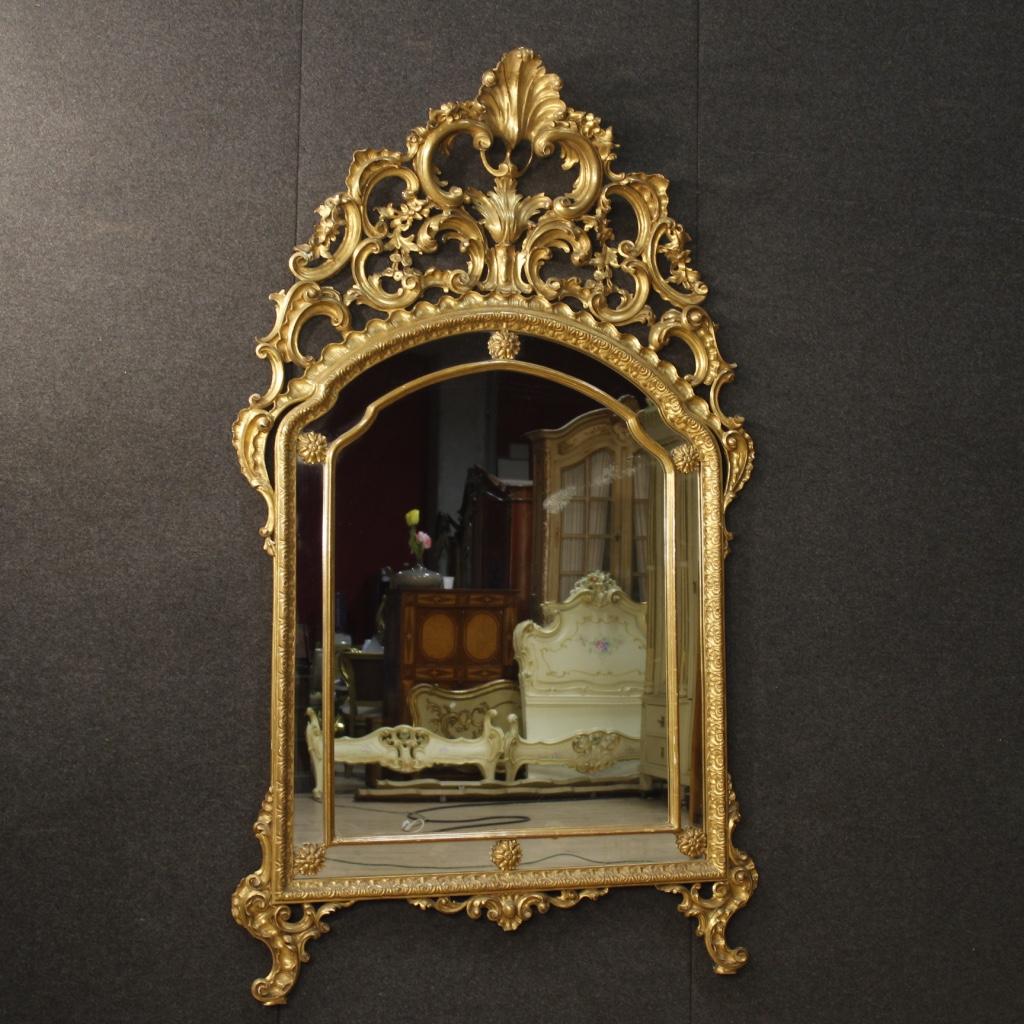 Specchiera Dorata Mobile Specchio In Legno Stile Antico