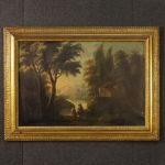 Antique Spanish landscape painting of the 19th century