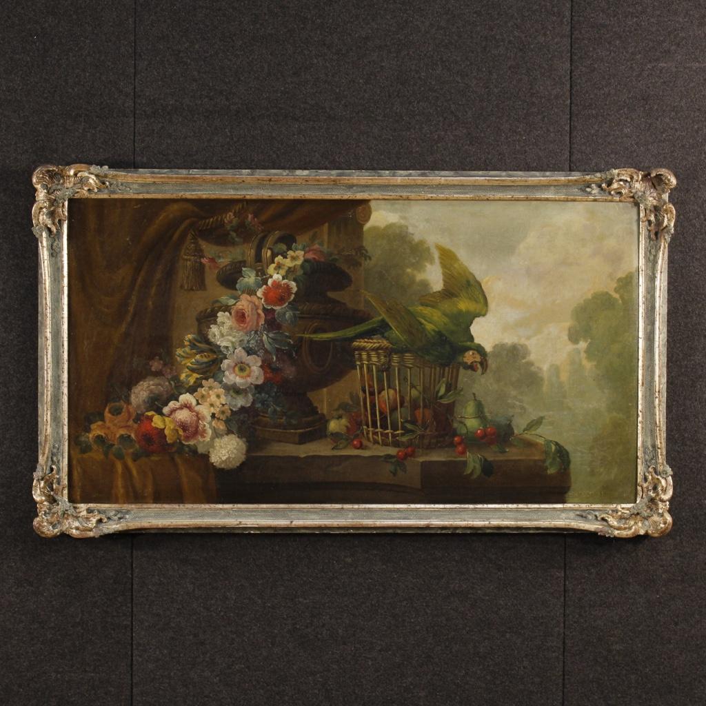 Antico dipinto francese natura morta con pappagallo del for Piani di fattoria del 19 secolo