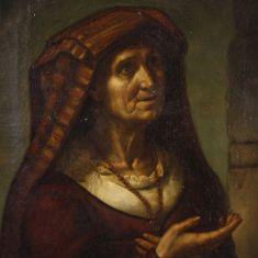 Quadro olio su tela stile antico 800