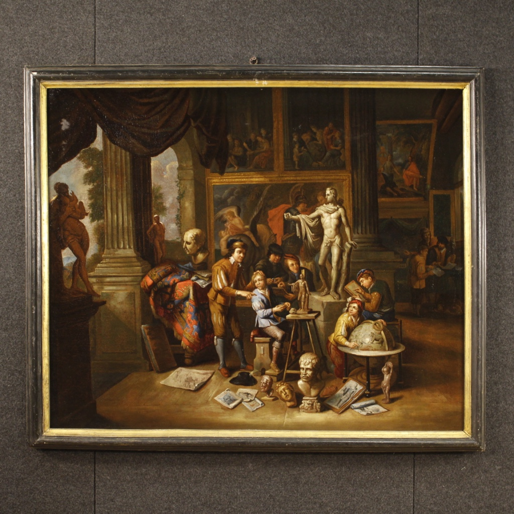 Antique Flemish painting The art workshop from 17th century