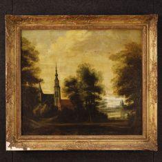 Quadro olio su tela con cornice dipinta e dorata epoca 800