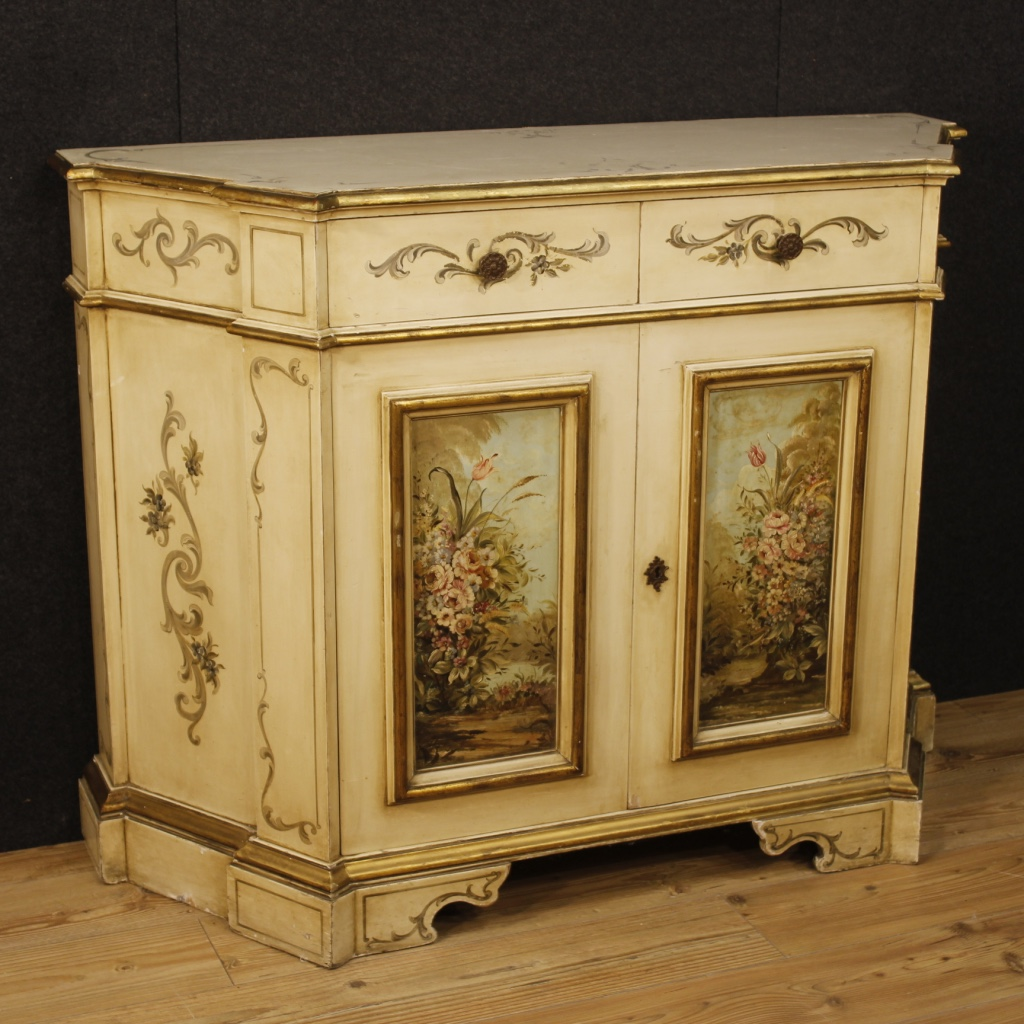 Venetian lacquered and painted sideboard with floral for Painted buffet sideboard