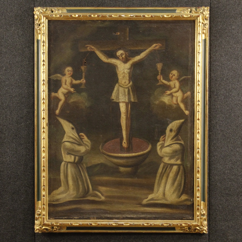 Antique Spanish Painting Crucifixion From 18th Century
