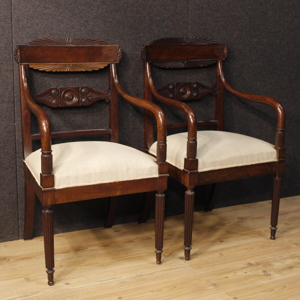 Antica coppia di poltrone sedie mobili italiani legno for Poltrone sedie