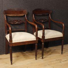 Sedie con tessuto chiaro in legno epoca 900