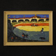 Quadro olio su tela con cornice stile impressionista
